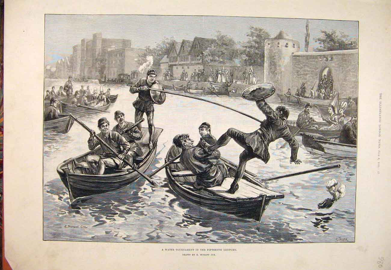 Print 1889 Water Tournament Fifteenth Century Morant Cox 807761 Old Original