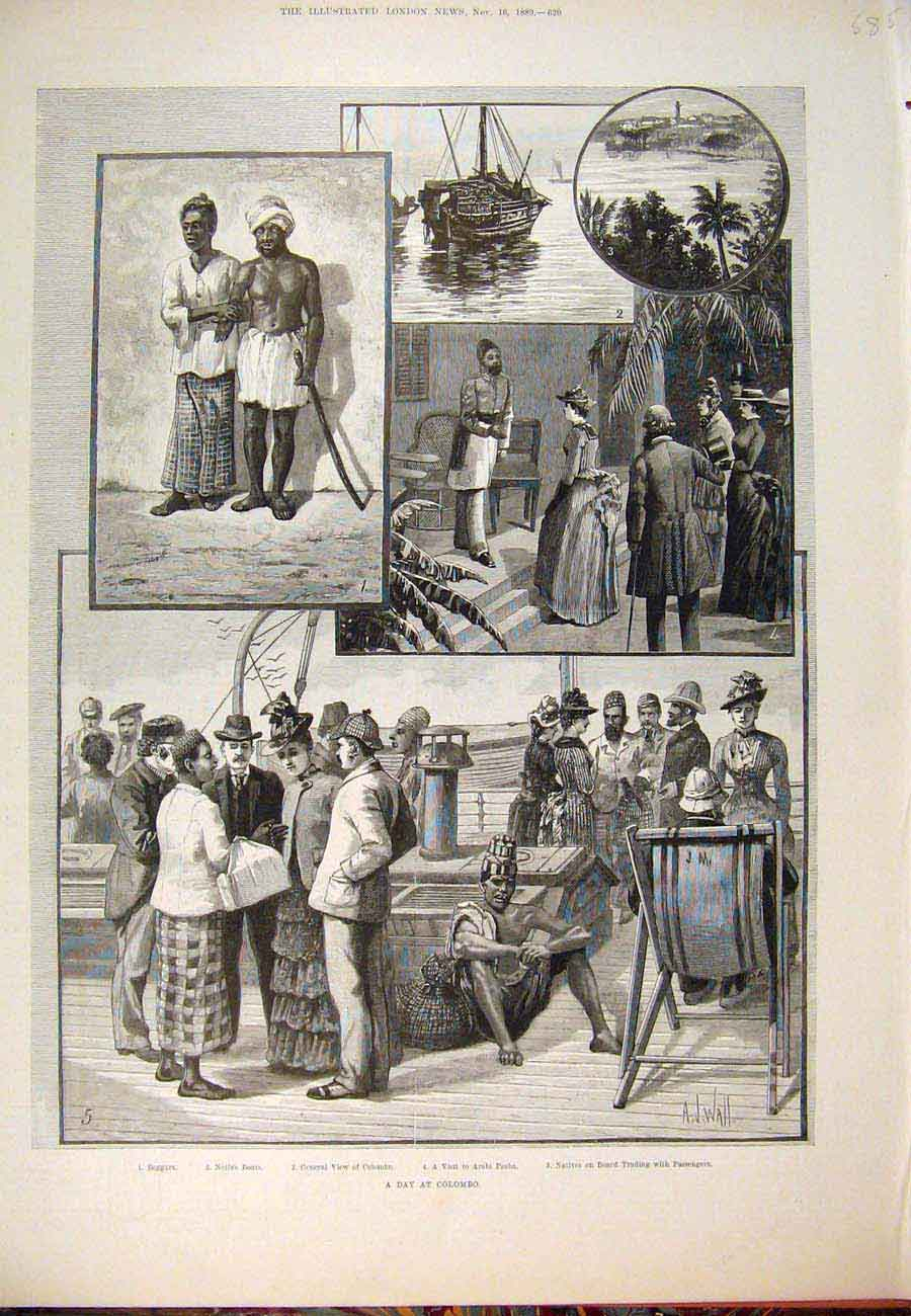 Print 1889 Day Colombo Beggars Boats Arabi Pasha 857761 Old Original