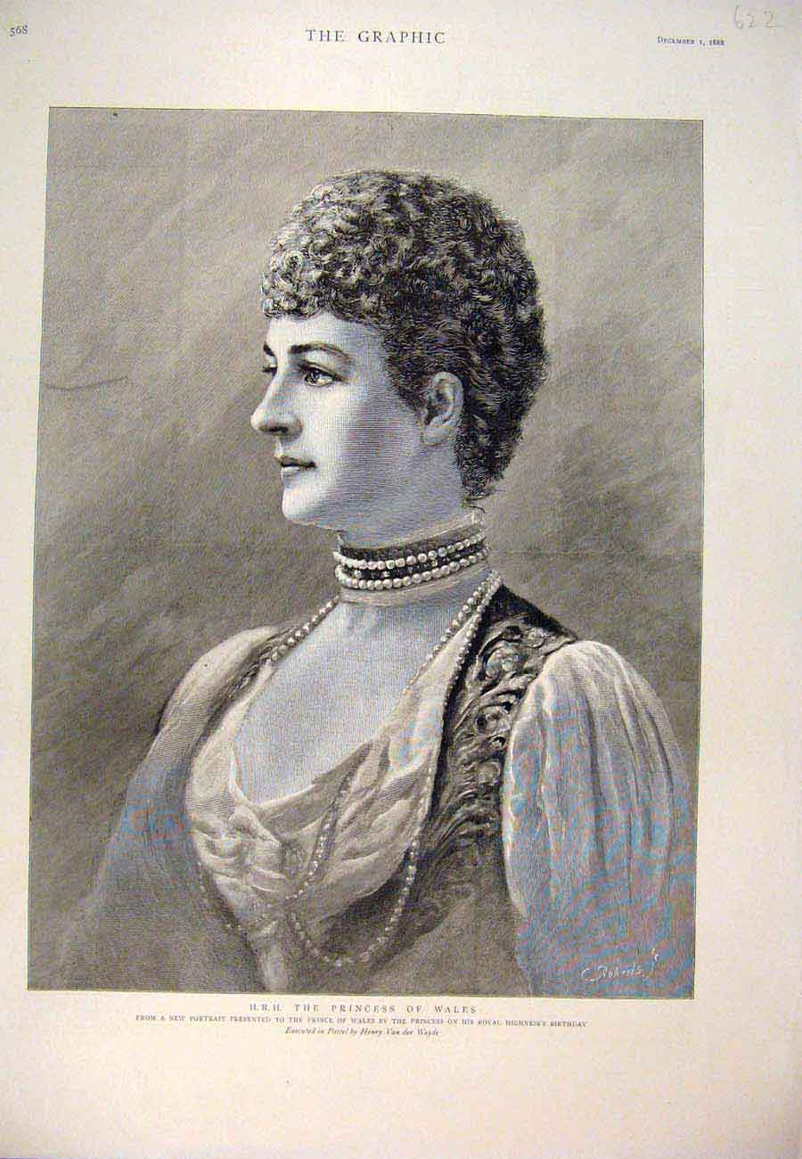 Print 1888 Portrait Princess Wales Weyde Pastel Birthday 227761 Old Original