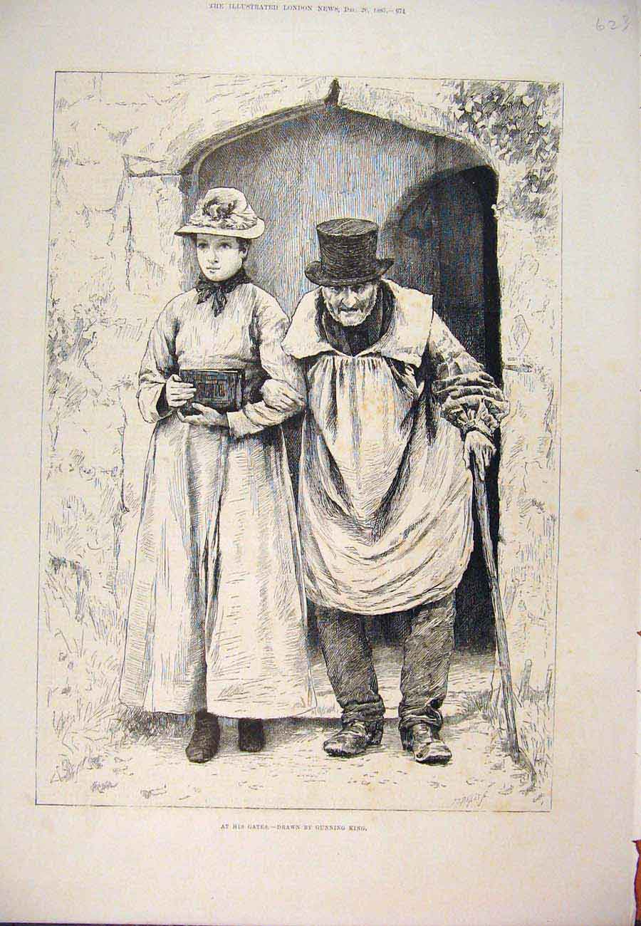 Print 1885 At His Gates Gunning King Man Lady Fine Art 237761 Old Original