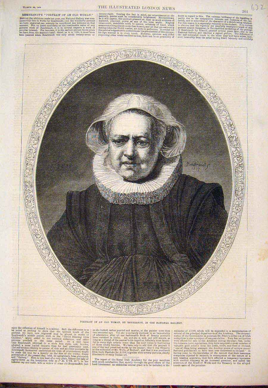 Print 1868 Portrait Woman Rembrandt National Gallery 327761 Old Original