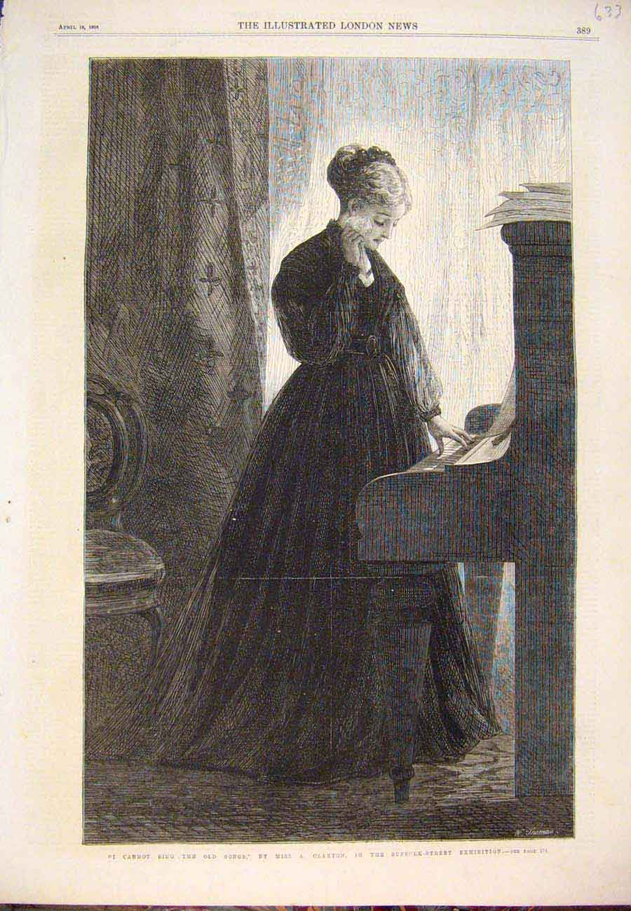 Print 1868 Claxton Sing Songs Fine Art Suffolk Street 337761 Old Original