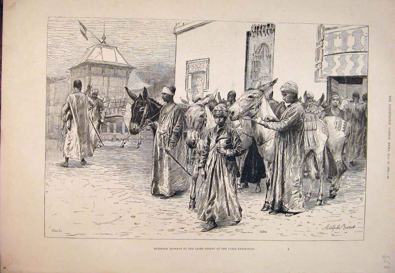 Print 1889 Egyptian Donkeys Cairo Street Paris Exhibition 587761 Old Original