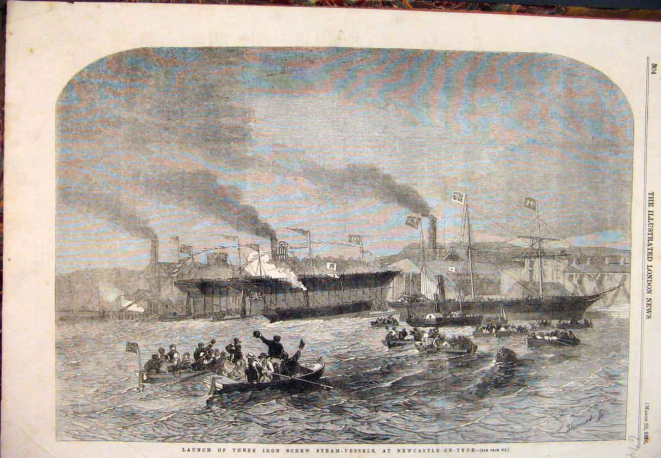 Print 1856 Iron Screw Steam-Vessels Newcastle-Upon-Tyne Ships 747761 Old Original