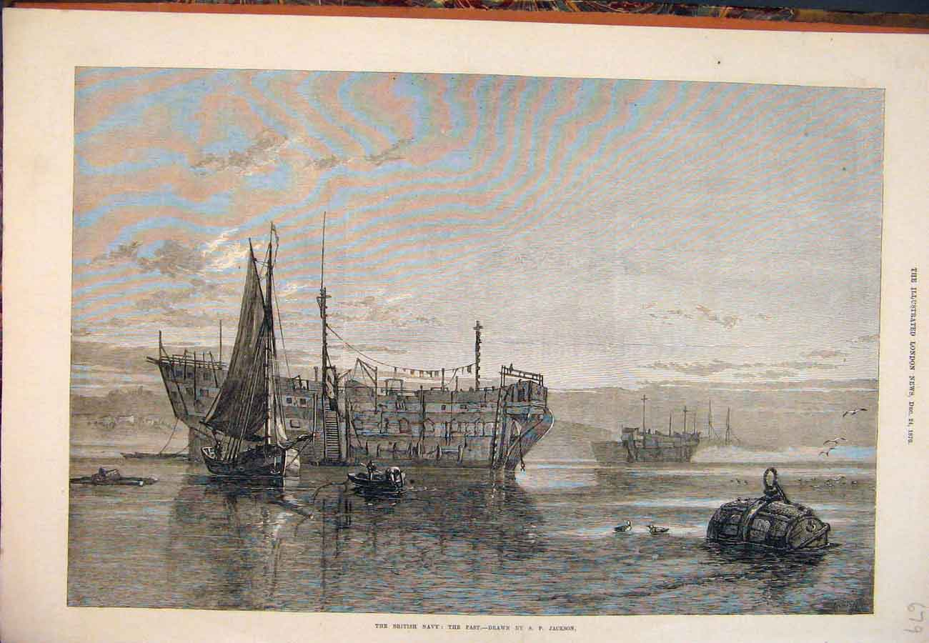 Print 1870 British Navy The Past Jackson Ship Boats 797761 Old Original