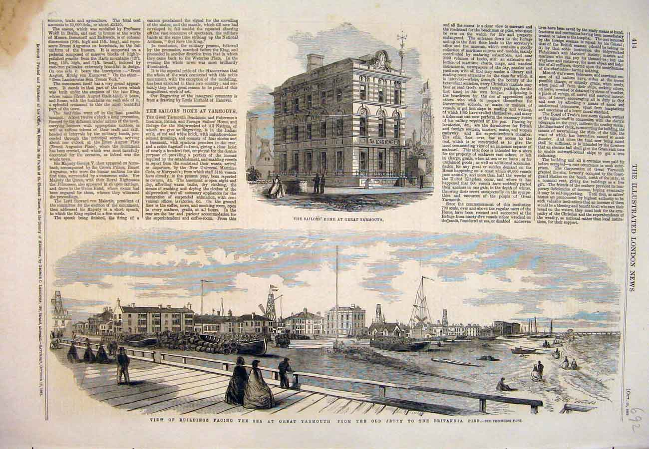 Print 1861 Great Yramouth Sailor'S Home Buildings Britannia 927761 Old Original