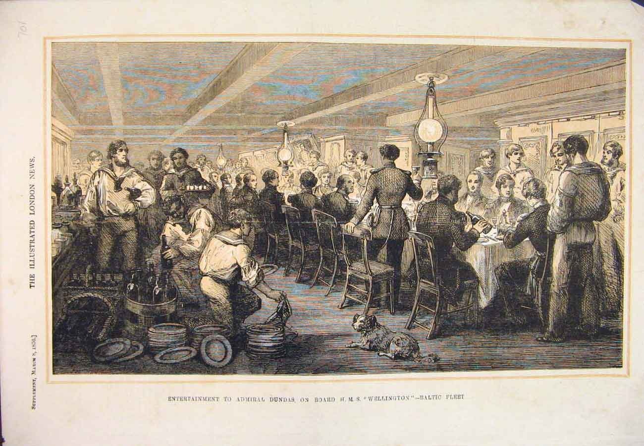 Print 1856 Admiral Dundas Hms Wellington Baltic Fleet Ship 017761 Old Original