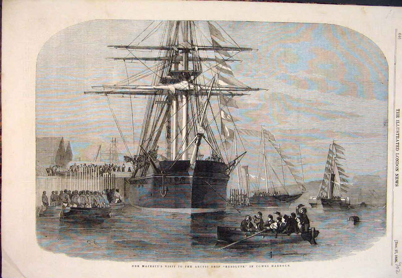 Print 1856 Arctic Ship Resolute Cowes Harbour Queen Boats 027761 Old Original