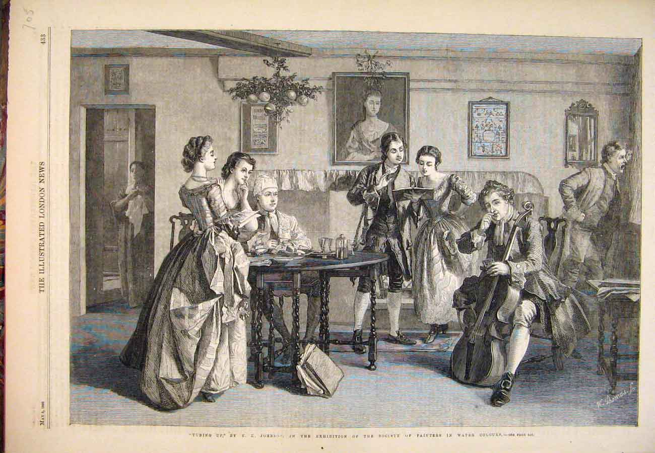 Print 1866 Tuning Up Johnson Fine Art Music Guitar 057761 Old Original