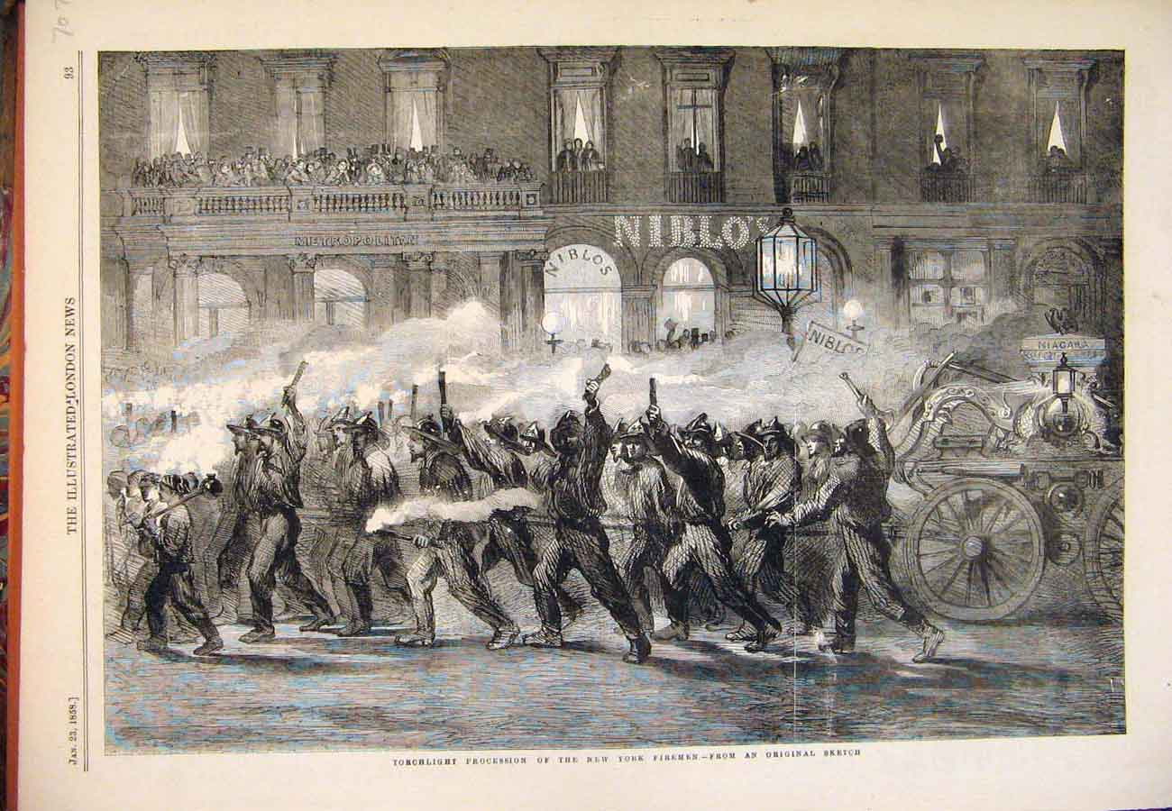 Print 1858 Procession New York Firemen Fire Brigade America 077761 Old Original
