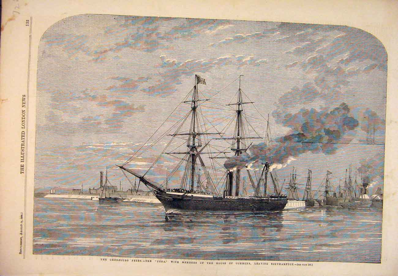 Print 1859 Rock Gibraltar Spain Point D'Europe Ceuta Tangier 227761 Old Original