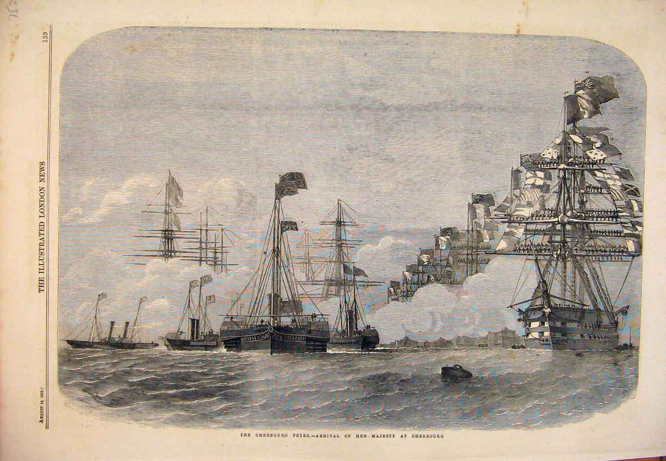 Print 1858 Cherbourg Fetes Her Majesty Queen Ships Sea 527761 Old Original