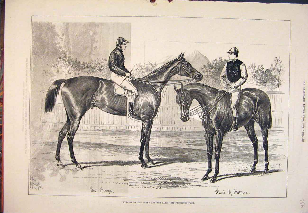 Print 1879 Race-Horse Derby Oaks Sir Bevys Wheel Fortune 567761 Old Original