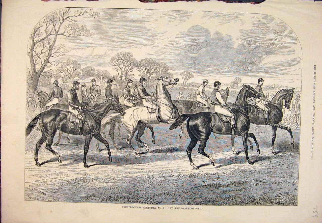 Print 1875 Steeplechase Sketches Starting Post Horses 597761 Old Original