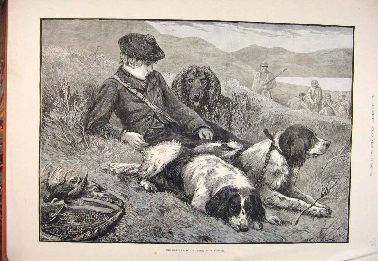 Print 1887 Keeper'S Boy Foster Shooting Hounds Dogs Birds 877761 Old Original