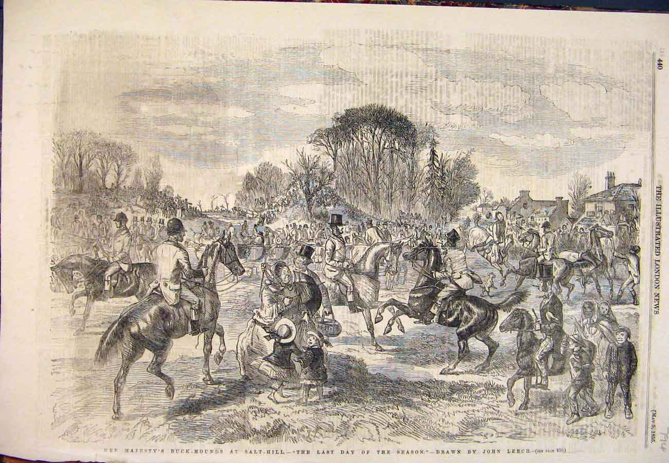 Print 1855 Buck-Hounds Salt-Hill Hunting Season Leech Horses 947761 Old Original