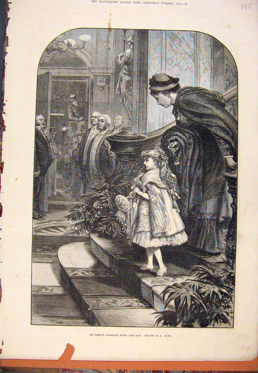 Print 1878 Lady'S Carriage Child Lady Hunt 957761 Old Original