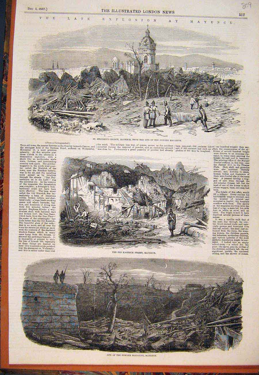 Print 1857 Mayence Explosion Powder Magazine Church 097761 Old Original