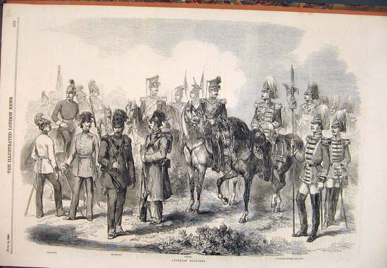 Print 1859 Austrian Soldiers Dragoons Chasseur Uhlan Guards 107761 Old Original