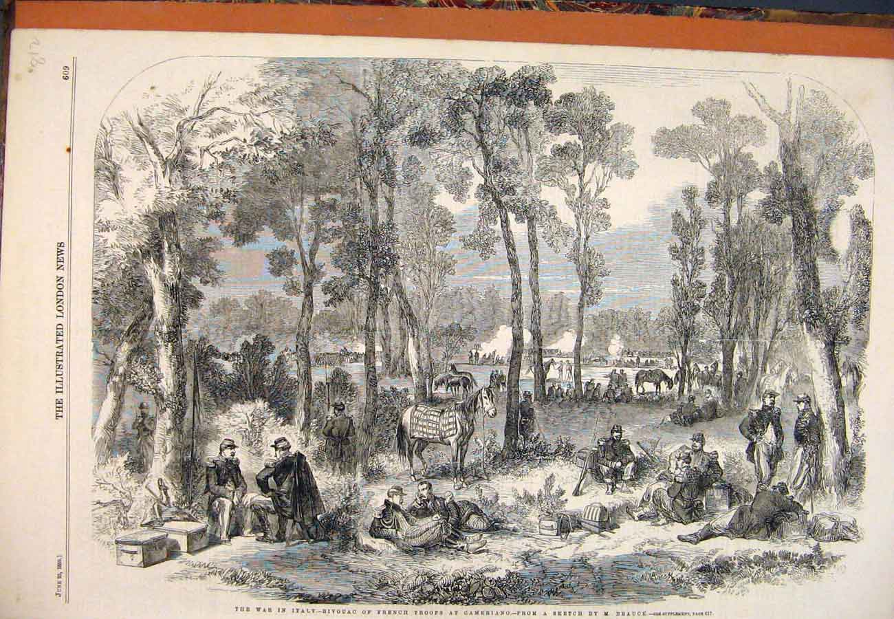 Print 1859 War Italy Bivouac French Troops Cameriano Beauce 127761 Old Original