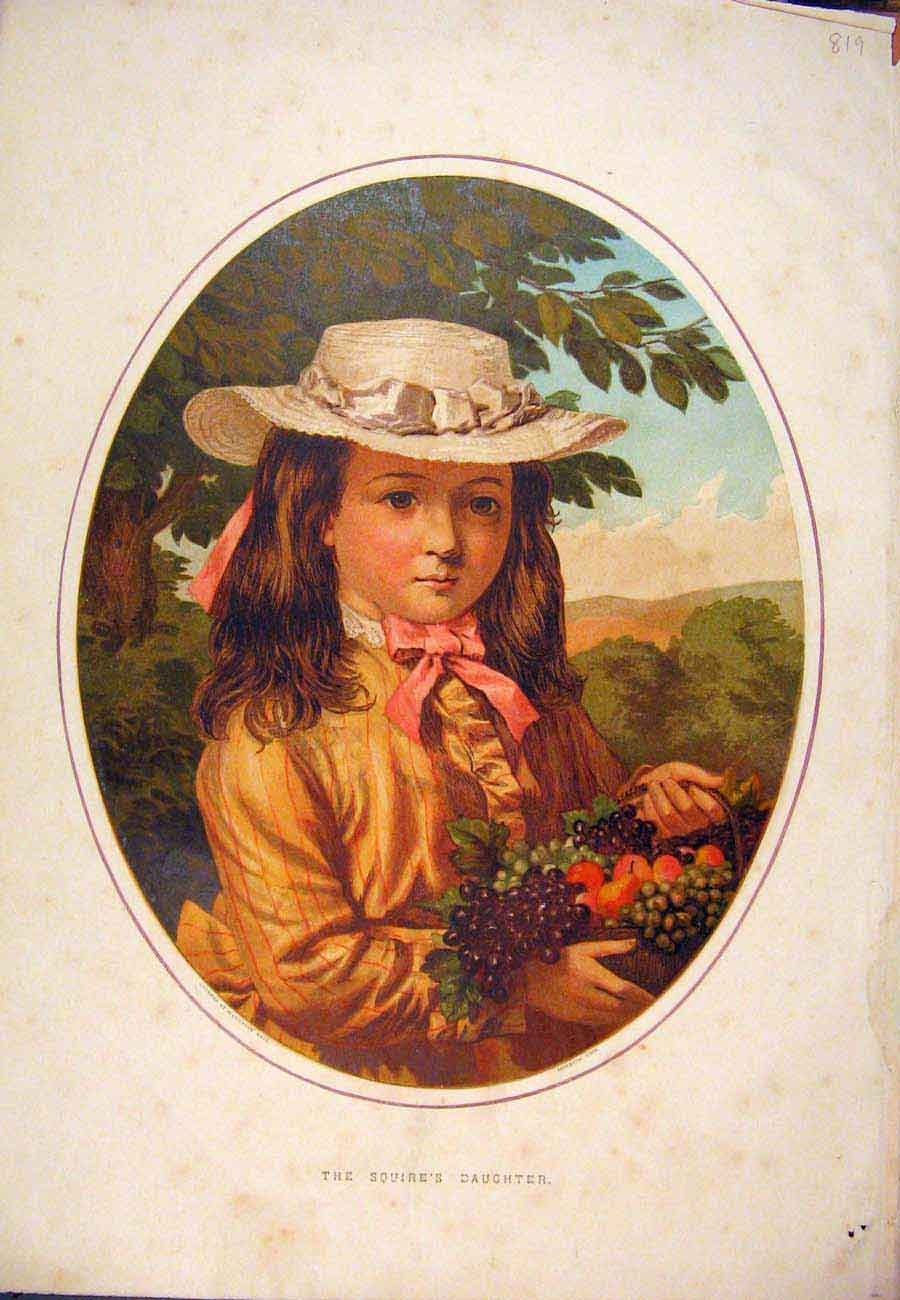 Print Squire'S Daughter Child Girl Fine Art Portrait 197761 Old Original