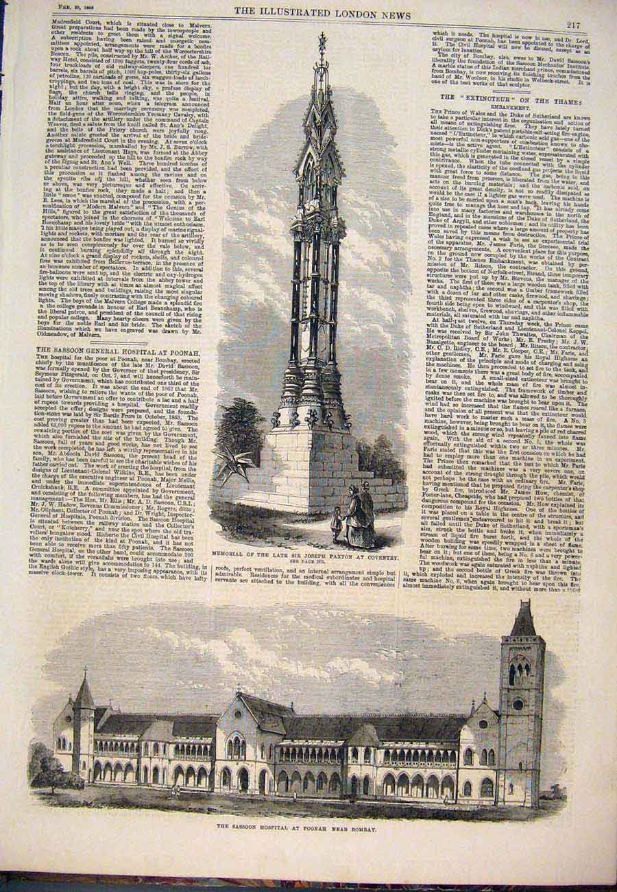 [Print Memorial Paxton Coventry Sassoon Hospital Bombay 1868 027761 Old Original]