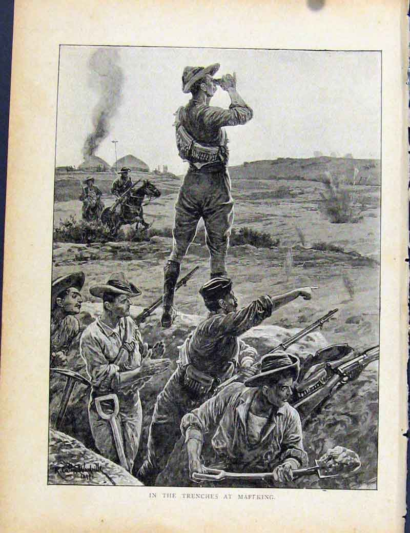 Print Boer War By Richard Danes Trenches At Maffking 617871 Old Original
