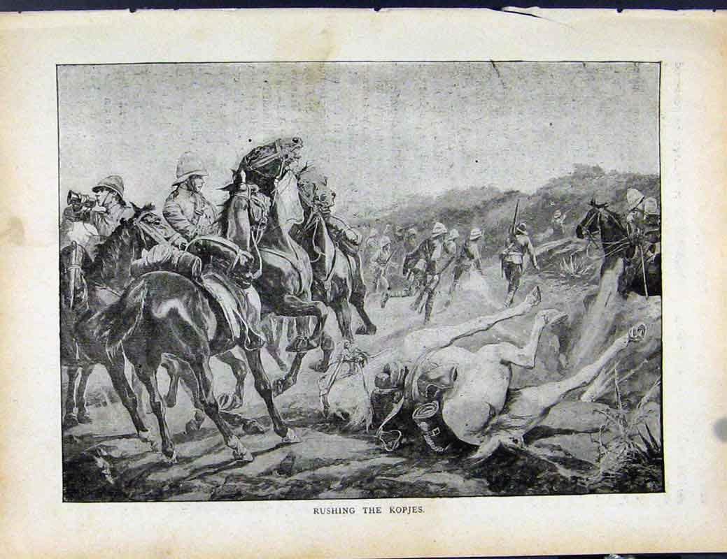 Print Boer War By Richard Danes Rushing The Kopjes 0147871 Old Original