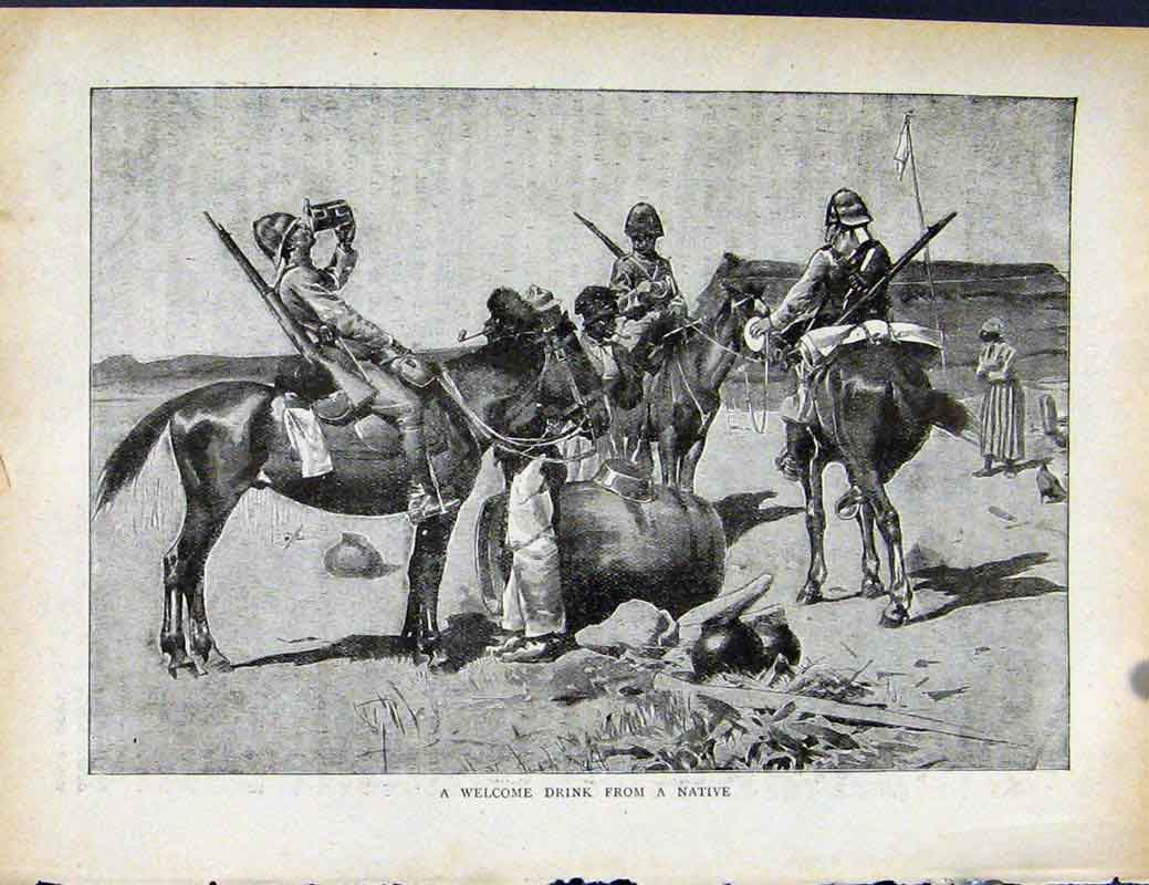 Print Boer War By Richard Danes Welcome Drink From Native 0277871 Old Original