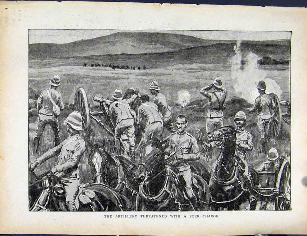 Print Boer War By Richard Danes Artillery Threatened Charge 0427871 Old Original