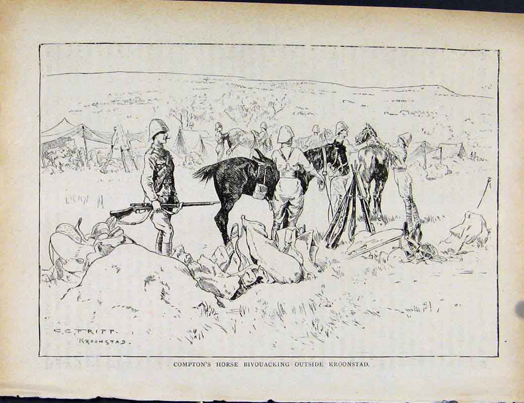 Print Boer War By Richard Danes Comptons Horse Bivouacking 0677871 Old Original