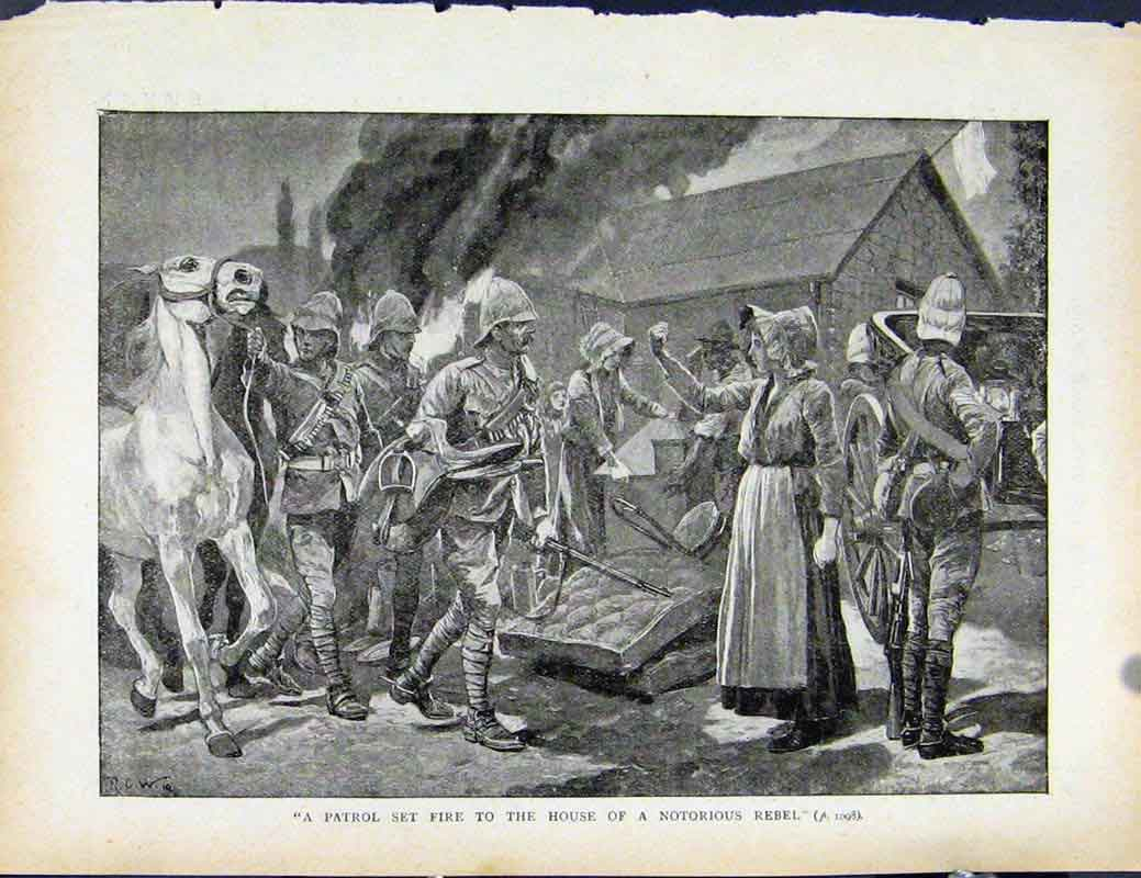 Print Boer War By Richard Danes Patrol Set Fire To House 1007871 Old Original