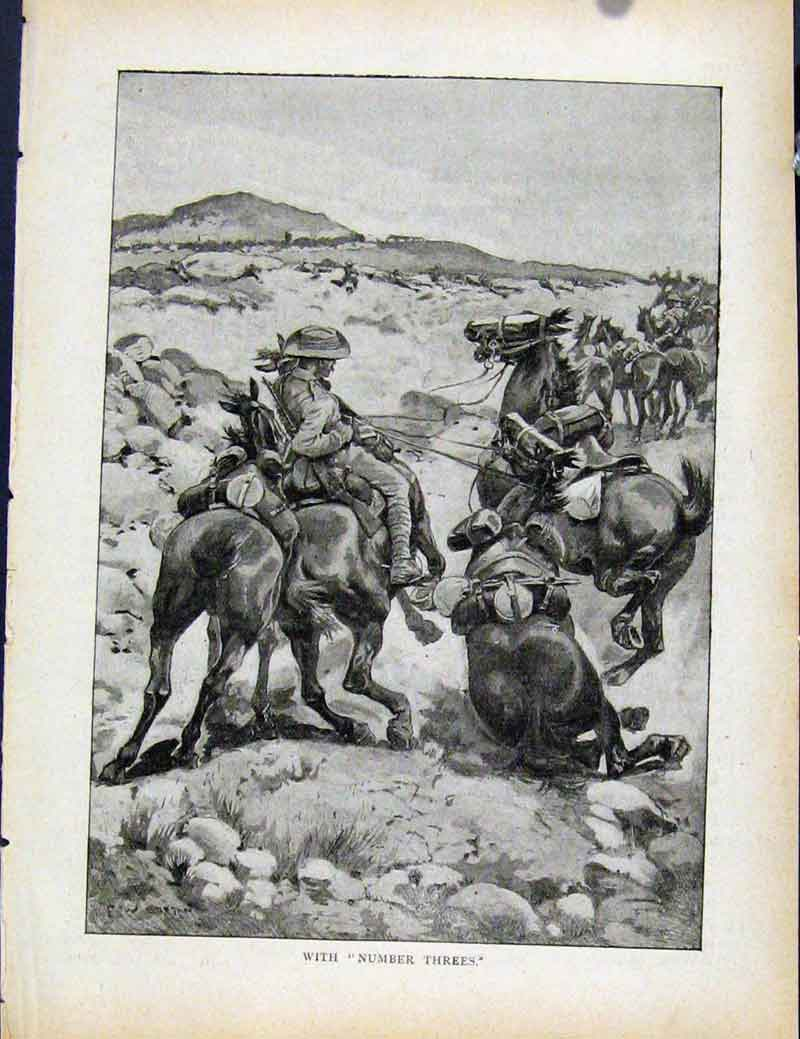 Print Boer War By Richard Danes With Number Threes 1067871 Old Original