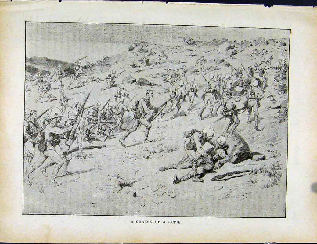 Print Boer War By Richard Danes Charge Up A Kopje 1127871 Old Original