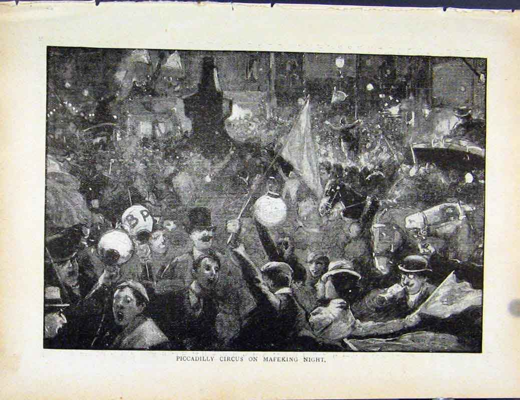 Print Boer War By Richard Danes Piccadilly Circus Mafeking 1187871 Old Original