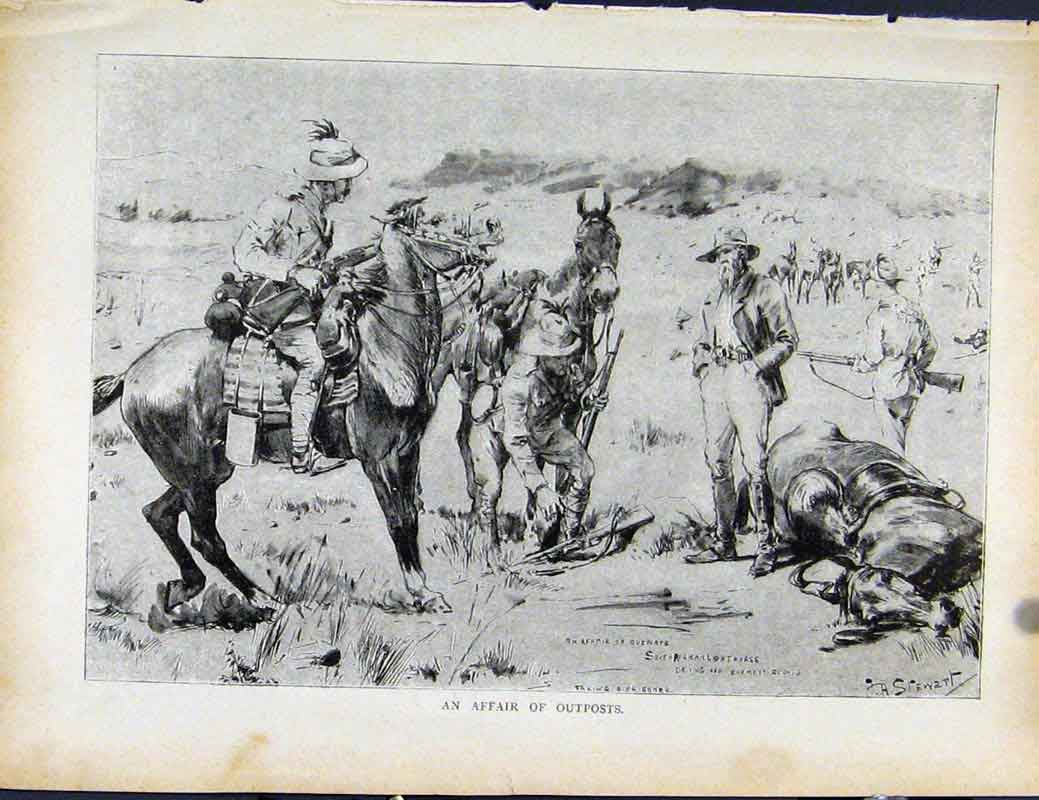 Print Boer War By Richard Danes Affair Outposts 2107871 Old Original