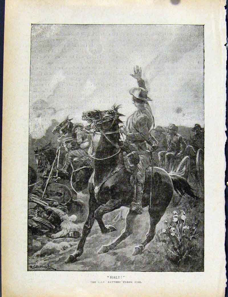 Print Boer War By Richard Danes Halt Stop Marching 3157871 Old Original