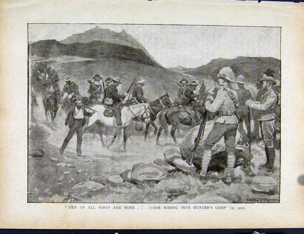 Print Boer War By Richard Danes Men Riding Into Hunters Camp 3207871 Old Original