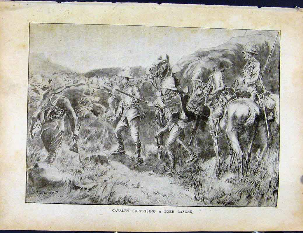 Print Boer War By Richard Danes Cavalry Boer Laager 3307871 Old Original