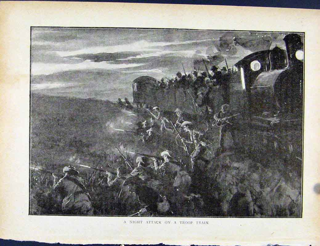 Print Boer War By Richard Danes Night Attack On Troop Train 4237871 Old Original