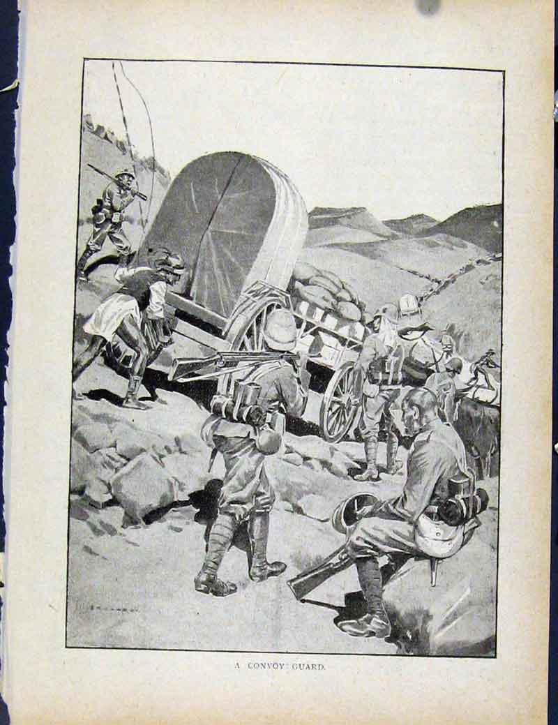Print Boer War By Richard Danes Convoy Guard 4647871 Old Original