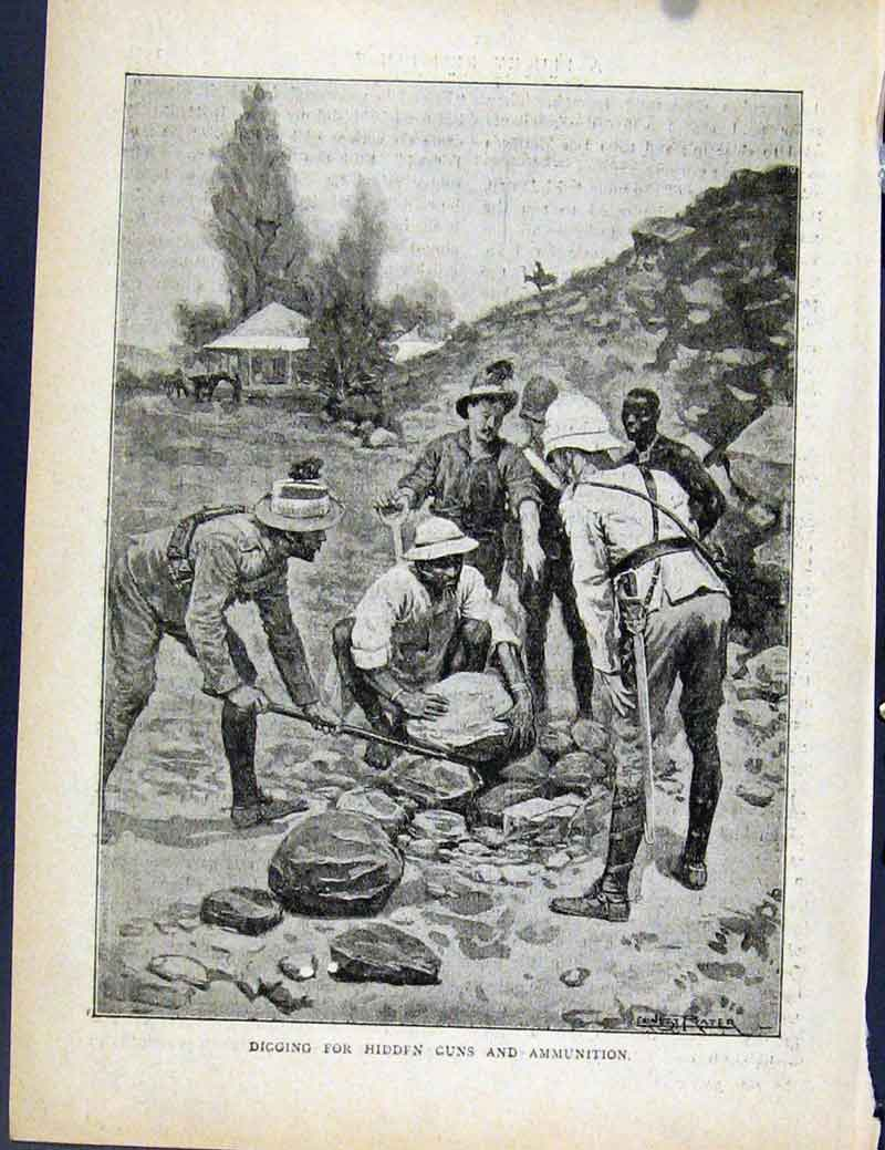 Print Boer War By Richard Danes Digging Hidden Guns 5317871 Old Original