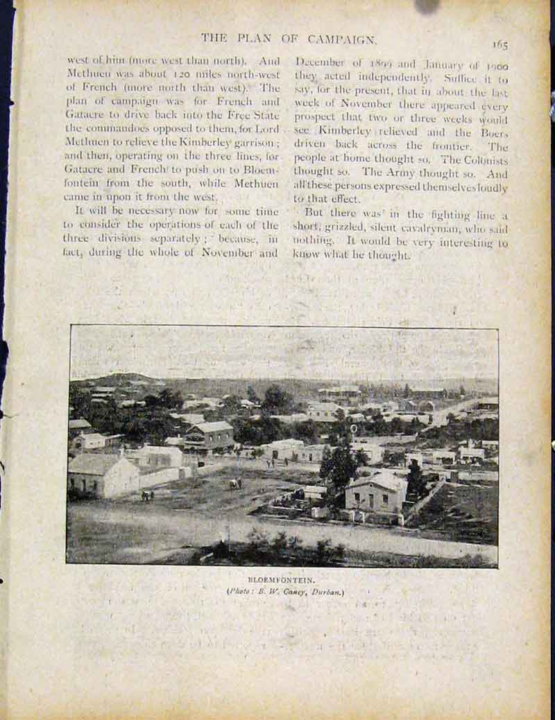 Print Boer War By Richard Danes Bloemfontein City Town 657871 Old Original