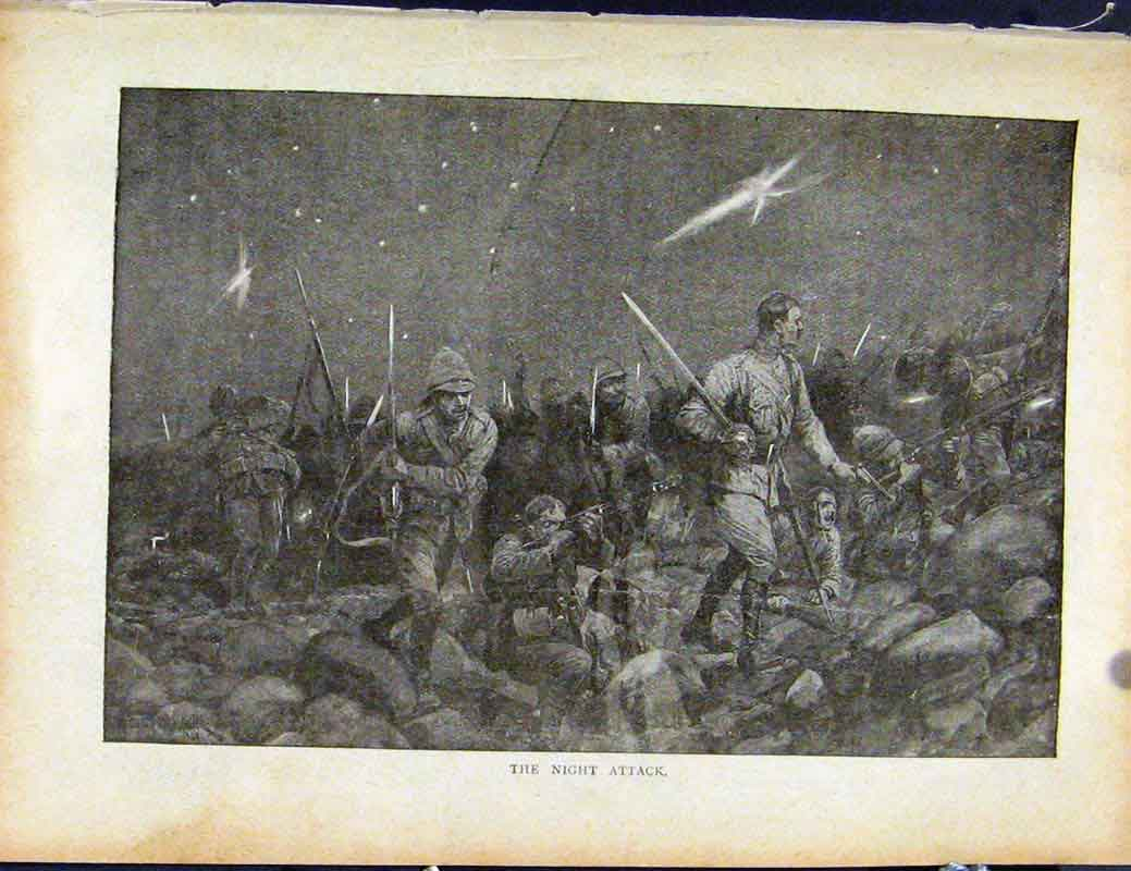 Print Boer War By Richard Danes Night Attack 787871 Old Original