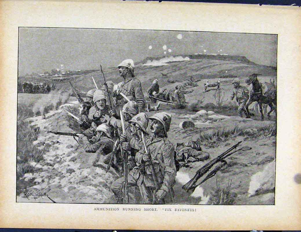 Print Boer War By Richard Danes Ammunition Running Short 107871 Old Original