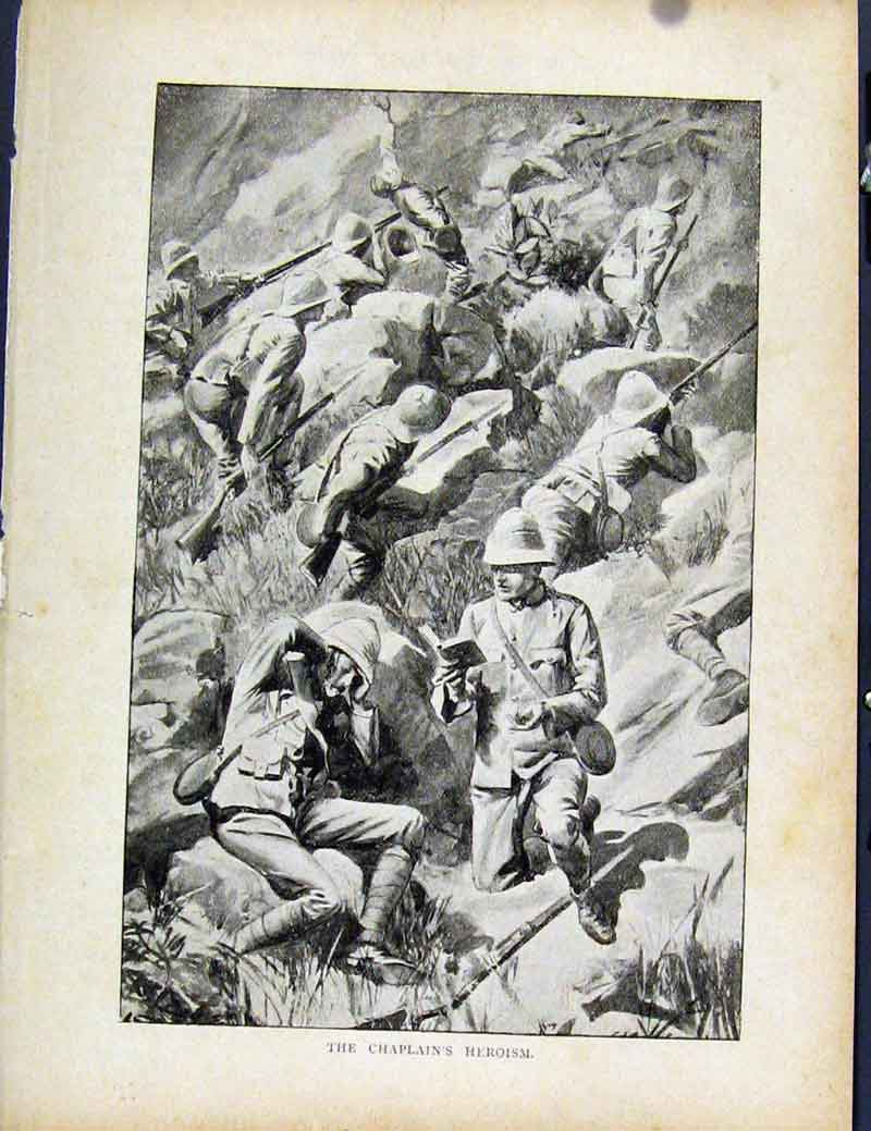 Print Boer War By Richard Danes Chaplains Heroism Fine Art 427871 Old Original