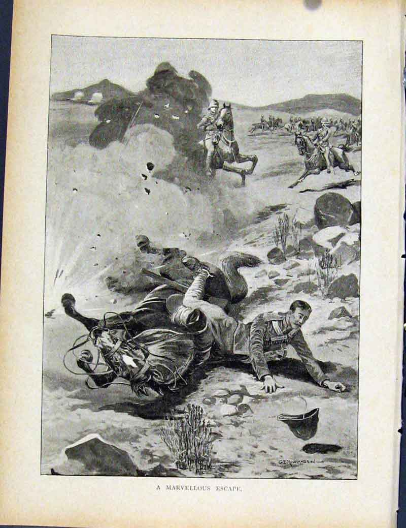 Print Boer War By Richard Danes Marvellous Escape 537871 Old Original