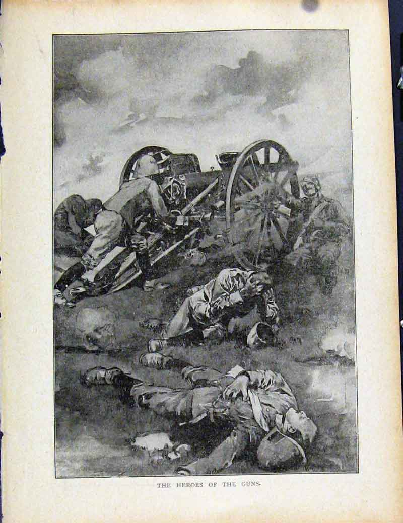 Print Boer War By Richard Danes Heros The Guns 067871 Old Original