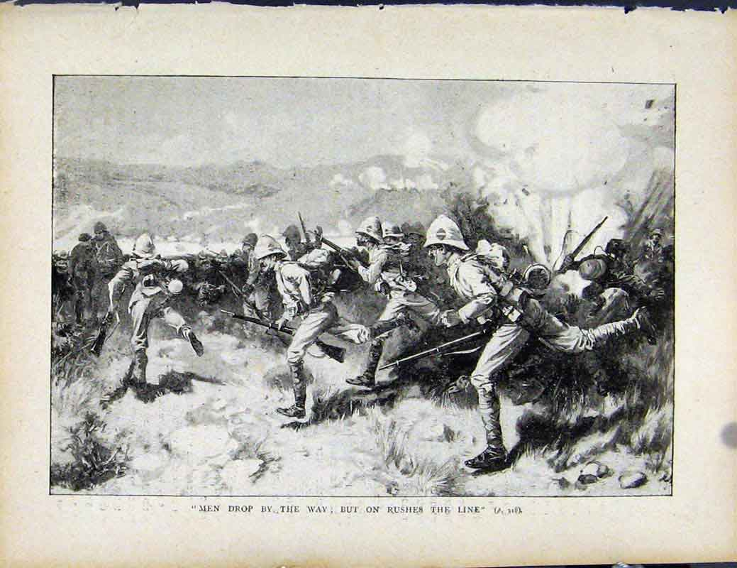 Print Boer War By Richard Danes Men Dropping Rushes The Line 187871 Old Original