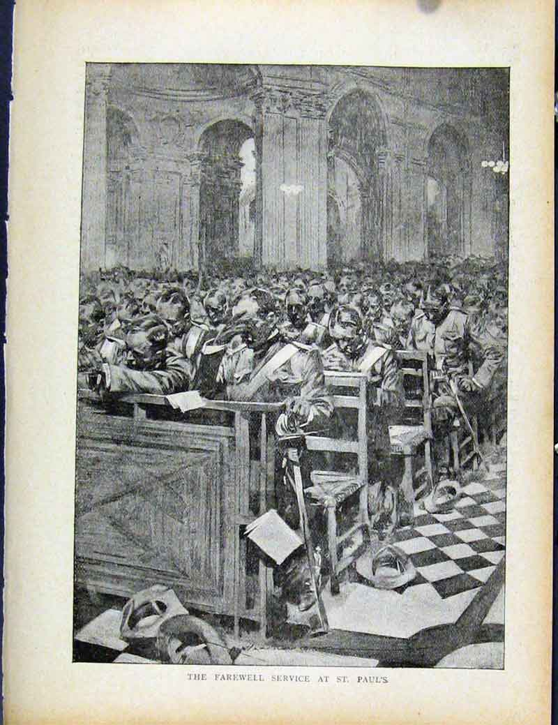 Print Boer War By Richard Danes Farewell Service At St Pauls 347871 Old Original